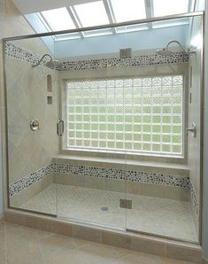 Bathtub to shower conversion - glass block window with two shower ...::