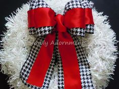 Red Black Party Houndstooth Wedding Pew Bow by SimplyAdornmentsss,