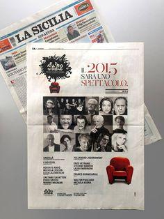 """Oggi pagina su """"La Sicilia"""" / Teatro Stabile di Catania / progetto grafico a cura di iwhiteplus creative studio."""