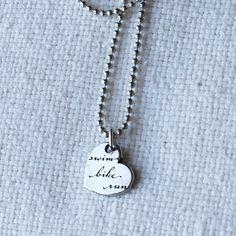 Triathlon Love Swim Bike Run Heart Necklace