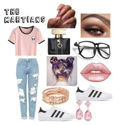 """""""THE MARTIANS"""" by yoyoitzselena ❤ liked on Polyvore featuring Topshop, adidas Originals, Lime Crime, Gucci, Henri Bendel and Emily & Ashley"""