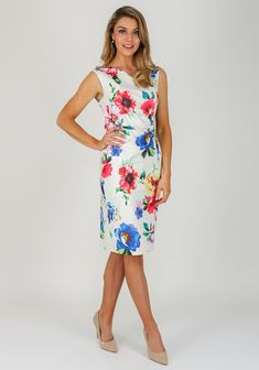 114c1080e0 Michaela Louisa Floral Ruched Dress, White Multi   McElhinneys Beautiful  White Dresses, Ruched Dress