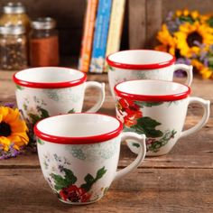 The Pioneer Woman Flea Market 17 oz Decorated Coffee Cups, Country Garden, Set of 4