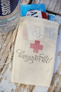 25 Hand stamped muslin favor bags 3x5  Hangover Kit bags on Easy by Chili and Peaches