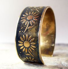 Etched Brass Cuff Sunflowers with Patina by AmongTheRuins on Etsy, $45.00