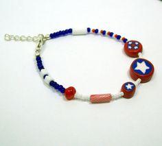 Patriotic Skinny Bracelet  Assorted Beads Including by MyStudio91, $6.00
