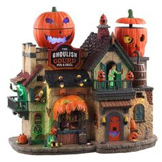 The Ghoulish Gourd Pub & Grill Lemax Christmas Village, Halloween Village, Spooky Halloween, Halloween Decorations, Halloween Party, Halloween Ideas, Christmas Shopping Online, Online Shopping, Spooky Places