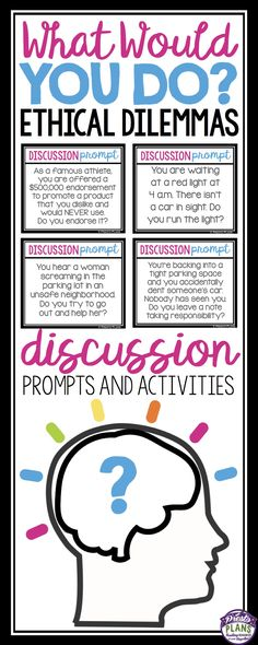 This resource is sure to get even your most reluctant students speaking. The product includes everything you need to spark up friendly debate and discussion in the classroom. The prompts are all ethical dilemmas that make student think about what they would do in the situation.