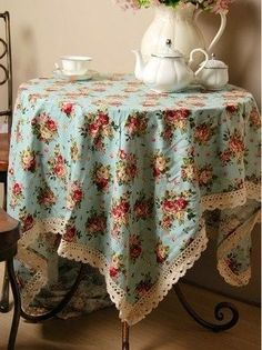 Floral tablecloth with crochet trim. Tea At The Garden Place... (1) From:Creative Muggle, please visit