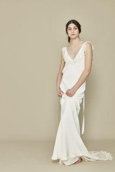 Claudette dress, silk bias cut with lace trimmed train, modern bride, boho wedding dress   #wedding #silkweddingdress