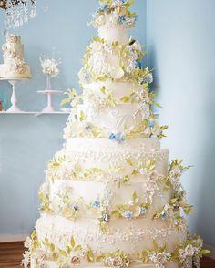 Follow us @SIGNATUREBRIDE on Twitter and on FACEBOOK @ SIGNATURE BRIDE MAGAZINE Creative Wedding Cakes, Floral Wedding Cakes, White Wedding Cakes, Elegant Wedding Cakes, Floral Cake, Beautiful Wedding Cakes, Wedding Cake Designs, Cake Wedding, Elegant Cakes