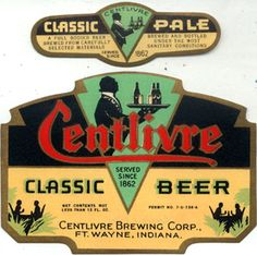 Centlivre Brewing Co. Classic Pale beer bottle label Fort Wayne Indiana