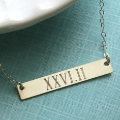 Engraved Bar, Marathon Necklace, Roman Numerals, Sterling Silver, Runners Necklace, Marathon Jewelry, Running, Inspiration Jewelry