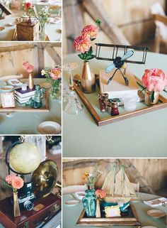 Travel themed styling achieved with vintage map details, model biplane, binoculars, model yacht, vintage camera and globe.