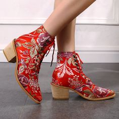 Socofy Damen Retro Leaf Flower Leder bequemer Reißverschluss High Heel Knöchel Stiefel