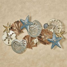 Coastal Medley Seashell Wall Art Coastal Wall Art, Coastal Decor, Coastal Furniture, Artwork Display, Wall Art Sets, Wall Sculptures, Picture Wall, Home Art, New Art