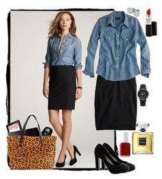 Chambray, Pencil and Leopard by handbagaficionado on Polyvore featuring polyvore, fashion, style, J.Crew, Michele, Chanel, Essie, BMW, clothing, platform heels, leopard print, denim shirts, chambray and pencil skirt