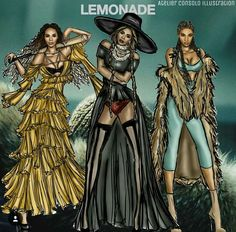Gorgeous LEMONADE fanart! I still am so in love with all her outfits, in the movie AND on tour... Beyoncé is queen. <3