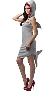 Shark Dress Adult Costume Includes themed dress with hood. Weight (lbs) Length (inches) 15 Width (inches) 12 Height(inches) Adult Costumes Gray One Size Everyday Female Adult Fish Costume, Shark Costumes, Animal Costumes, Funny Costumes, Costumes For Teens, Adult Costumes, Pirate Costumes, Baby Costumes, Costume Shop