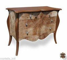 Chest of Drawers Nickel Nail Tacks Hide Hardwood Handmade Western Decor New | eBay