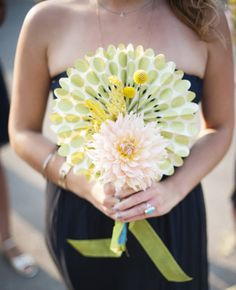 Justin & Mary Photography/The Knot, Single Flower Dahlia Bridesmaid Bouquet with Paper Pinwheel