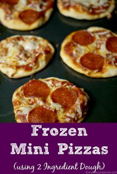 Using 2 Ingredient dough these mini pizzas can be frozen so you can eat them whenever you want.