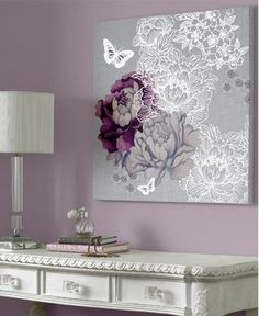 41-190 Monsoon Monsoon - purple and silver flowers and butterflies canvas art Pink,Purple,Lilac,White,Grey Floral Canvas: