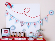 Airplane Party Package Personalized MINI Collection Set  - PRINTABLE DIY - PS818y. via Etsy.
