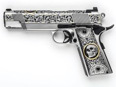"""Skulls"" stainless steel Cisco ""Especial"" 1911 pistol in by Jessie James Firearms Weapons Guns, Guns And Ammo, Airsoft Guns, Rifles, 1911 Pistol, Colt 1911, Gun Art, Custom Guns, Custom 1911"