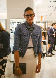 denim jacket and chunky, sparkly necklace. love this look for fall!
