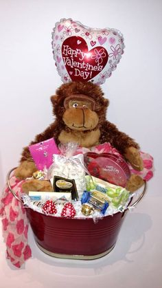 Ape Over You Substitutions of equal or greater value may be made depending on season and availability. Valentine's Day Flower Arrangements, Gift Baskets, Valentines Day, Teddy Bear, Seasons, Flowers, Gifts, Wedding, Sympathy Gift Baskets