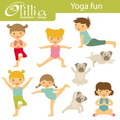 Yoga fun - Kids Yoga Graphics are great for newsletters, web design, scrapbooking and more.