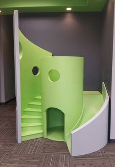Here is our funky, modern, waiting room playhouse in green. Playhouse With Slide, Kids Playhouse Plans, Kids Indoor Playhouse, Backyard Playhouse, Build A Playhouse, Indoor Playground, Modern Playhouse, Kids Play Area, Kids Room