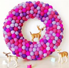 Felt Ball Wreath with Stag - Berry Mix. I need this next Christmas when I have a fireplace in my lounge. Great work @Little Puddles