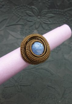 Wire Wrapped Blue Fire Agate Ring in by BuyThePlaceWithBeads