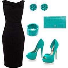 Little Black Dress with Turquoise Accessories by heat27 on Polyvore featuring Coast, Steven, Longchamp, Tarina Tarantino, turquoise, black dress and little black dress