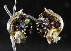 Vintage Lisner Clip On Earrings Red A/B Rhinestones by hipcricket, $12.00