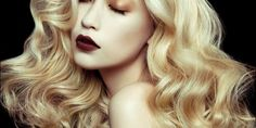 Dark lips with Light hair <3