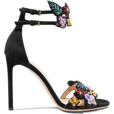 Heel measures approximately 4 inches Black suede Buckle-fastening ankle straps Made in Italy Black High Heel Sandals, Black Suede Shoes, Strappy Sandals Heels, Ankle Strap Heels, Ankle Straps, Strap Sandals, Embellished Heeled Sandals, Beaded Sandals, Lauren Bacall