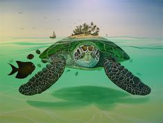 On a turtle's back: this is one native american creation story and background.
