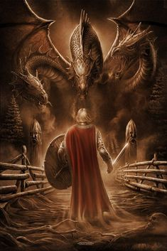 Norse Soldier Facing a Three-Headed Dragon Dragon Medieval, Medieval Fantasy, Dark Fantasy, Fantasy Creatures, Mythical Creatures, Vegvisir, Viking Art, Viking Woman, Dragon Slayer