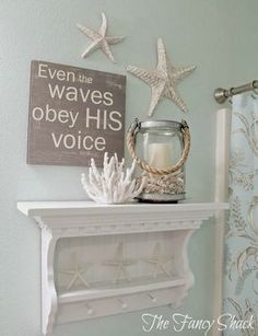 """Shop for cheap starfish carol wood board beach sign wall decor with quotes """"even the waves obey his voice"""" - bathroom decor"""