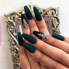 dark green and black matte coffin nails – Long Nails – Long Nail Art Designs Matte Green Nails, Green Nail Art, Coffin Nails Matte, Silver Nails, Dark Nails, Cute Acrylic Nails, Gel Nails, Nail Nail, Acrylic Nails Green