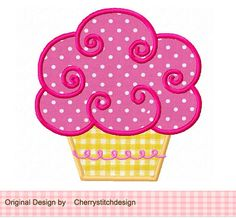 Cupcake 02 Digital Applique-4x4 5x7 6x10-Machine Embroidery Design Applique