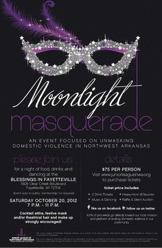 Help unmask domestic violence at Junior League of Northwest Arkansas' Moonlight Masquerade! Gala Themes, Prom Themes, Event Themes, Event Ideas, Wedding Reception Centerpieces, Graduation Centerpiece, Candle Centerpieces, Quinceanera Centerpieces, Fundraiser Themes