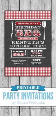 A printable red white and dark gray Barbecue Birthday invitation with rustic red and white gingham and text on a dark grey background. Stylish cookout themed digital party invite template with a unique design to fit your bbq birthday idea, style or grilling theme. Adult invite that's perfect for a 30th birthday or any age. This customized announcement card will be personalized with your custom text. DIY file that you can download and print at home.