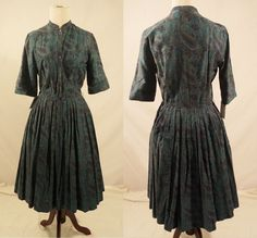 1950s Dress /Paisley Print Dress / 1950s Cotton Dress /Day