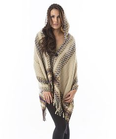 Look at this Aziza Taupe & Cream Geometric Fringe Hooded Poncho - Women on #zulily today!
