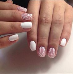 Line Nail Designs, Simple Nail Art Designs, Easy Nail Art, Nail Art Stripes, Striped Nails, Nails With Stripes, White Nail Art, White Nails, White Lines On Nails