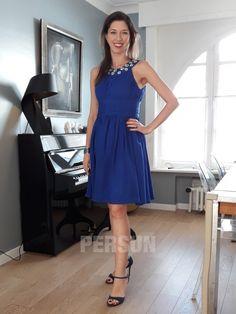 avis client persun : robe de soirée bleu courte col américain orné de strass Client, Formal, Style, Fashion, Blue Party Dress, Pleated Skirts, Pink Color, Ballroom Dress, Inverted Triangle
